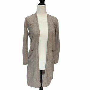 Eli Tahari Merino Wool Open Front Long Cardigan XS